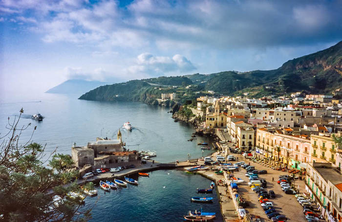 Overview of Lipari and its harbour in the morning  -  Lipari, Aeolian Islands, Italy