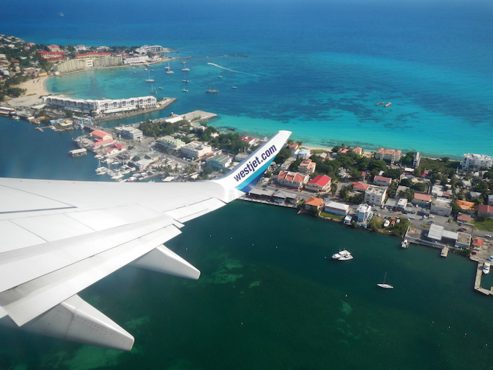 Taking off from Princess Juliana International Airport, looking down at Simpson Bay on our Westjet flight back to Toronto.