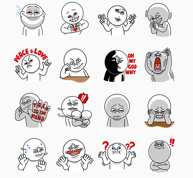 Free-Moon-Funny-Faces-Part1-Line-Sticker-In-Brazil